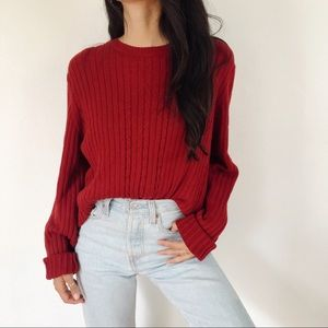 Eddie Bauer cashmere blend cable knit sweater